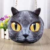 Cute Fashion Women Crossbody Bag Cat Animal Print Zipper Closure Small Shoulder Chain Bag