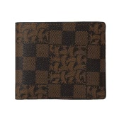 New Men Wallet PU Leather Plaid Print Hasp Pocket Card Holder Multifunctional Billdold Coffee/Brown