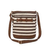 Women Canvas Totes Shoulder Bag Stripe Preppy Style Girls Handbag Crossbody Messenger Bag