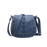 New Fashion Women Shoulder Bag PU Leahther Flap Braid Hollow Out Adjustable Shoulder Strap Vintage Crossbody Bag