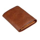 Men Money Clip Wallet Genuine Leather Short Card Holder Trifold Magnet Business Mini Wallet Coffee/Brown