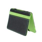 New Fashion Men Money Clip Card ID Holder PU Leather Fold Design Business Credit Card Holder Green / Orange