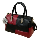 Vintage PU Leather Contrast Color Zipper Closure Crossbody Tote for Women