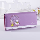 Fashion PU Leather Cartoon Girl Printing Card Holder Long Wallet for Women