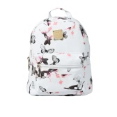 Fashion Women Backpack Flower Butterflies Print PU Leather Zipper Closure School Travel Shoulder Bags White/Pink