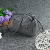 New Women PU Crossbody Bag Solid Color Hole Zipper Pocket Casual Vintage Shoulder Messenger Bags Black/Grey