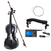 ammooon 4/4 Student Violin Metallic Black Equipped with Steel String w/ Arbor Bow for Beginners Music Lovers + ammoon AMT-01GB Multifunctional 3in1 Digital Tuner + Metronome + Tone Generator Universal Portable for Chromatic Guitar Bass Violin + 4pcs A Set of Violin Strings + Violin Shoulder Rest