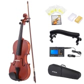 ammoon 4/4 Natural Acoustic Violin Fiddle Spruce Steel String with Case Arbor Bow for Music Lovers Beginners + ammoon AMT-01GB Multifunctional 3in1 Digital Tuner + Metronome + Tone Generator for Chromatic Guitar Bass Violin + 4pcs A Set of Violin Strings + Violin Shoulder Rest