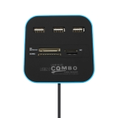USB 2.0 Hub Combo TF SD MMC M2 MS Card Reader All In One Plug and Play 3 Ports 4 Slots Blue