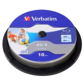Verbatim BD-R 25GB 6X Wide White Inkjet Printable 10PK Spindle Blu-ray Recordable Media Disc Blank Compact Write Once Data Storage 64099