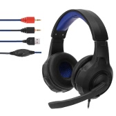 3.5mm Stereo Gaming Headphone Super Bass on Ear Headset Blue LED Light with Mic for PC Laptop