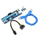 006C USB 3.0 PCI-E PCI Express Extension Cable 1X to 16X Extender Riser w/ SATA 15Pin 6Pin 4Pin Power Interface Mining Dedicated Graphics Card Adapter LED Indicator