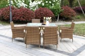 IKAYAA 7PCS Rattan Outdoor Patio Dinning Table Set Cushioned Garden Patio Furniture Set Light Brown + Coffee Cushion