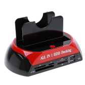 "All in 1 HDD Docking Station e-SATA Hub Card Reader 2.5""3.5"" Dual Slots USB2.0 SATA IDE with One Touch Backup"