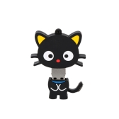 Lovely Cute Cartoon Animal Flat Cat Style USB 2.0 Flash Storage Drive U Disk Memory Stick Thumb Pen Drive with Keyhole (black)