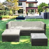 iKayaa Fashion PE Rattan Wicker Patio Garden Furniture Sofa Set W/ Cushions Outdoor Corner Sofa Couch Table Set