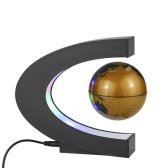 C Shape Magnetic Levitation Floating World Map Globe Rotating with LED Lights for Learning Education/Teaching Demo/House and Office Desk Decoration/Creative Gift