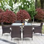 IKAYAA 7PCS Rattan Outdoor Patio Dinning Table Set Cushioned Garden Patio Furniture Set Dark Brown + Beige Cushion