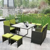 iKayaa 9PCS/8-Seater Rattan Patio Garden Dining Set Furniture Cushioned Outdoor Dining Table Chair Sofa Set Iron Frame