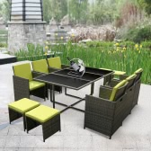 iKayaa 11PCS/10-Seater Rattan Patio Garden Dining Set Furniture Cushioned Outdoor Dining Table Chair Sofa Set Iron Frame