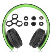 Andoer Bluetooth Headphone Wireless Stereo Bluetooth 4.1 Headset 3.5mm Wired Earphone MP3 Player TF Card FM Radio Hands-free Green + DIY Tri Fidget Spinner