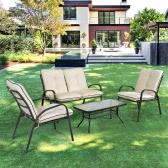 iKayaa Fashion 4 Pieces Cushioned Patio Garden Furniture Sofa Set Tea Table & Chairs Pool Outdoor Conversation Set Steel Frame