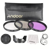 Andoer 55mm Filter Kit (UV+CPL+FLD) + Nylon Carry Pouch + Lens Cap + Lens Cap Holder + Lens Hood + Lens Cleaning Cloth