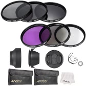 Andoer 62mm Lens Filter Kit UV+CPL+FLD+ND(ND2 ND4 ND8) with Carry Pouch / Lens Cap / Lens Cap Holder / Tulip & Rubber Lens Hoods / Cleaning Cloth