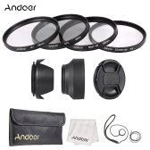 Andoer 58mm Lens Filter Kit with Lens Cap Holder Tulip Rubber Lens Hoods Cleaning Cloth