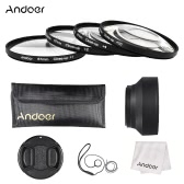 Andoer 67mm Close-up Macro Lens Filter Set(+ 1 +2 +4 +10) with Lens Accessories(Lens Pouch + Collapsible Lens Hood + Lens Cap + Lens Cap Holder + Cleaning Cloth)