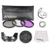 Andoer 58mm Filter Kit (UV+CPL+FLD) + Nylon Carry Pouch + Lens Cap + Lens Cap Holder + Lens Hood + Lens Cleaning Cloth