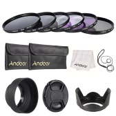 Andoer 67mm Lens Filter Kit UV+CPL+FLD+ND(ND2 ND4 ND8) with Carry Pouch / Lens Cap / Lens Cap Holder / Tulip & Rubber Lens Hoods / Cleaning Cloth