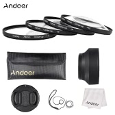Andoer 72mm Close-up Macro Lens Filter Set(+ 1 +2 +4 +10) with Lens Accessories