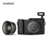 "Andoer CDR2 1080P 15fps Full HD 24MP Digital Camera 3.0"" Rotatable LCD Screen Anti-shake 4X Digital Zoom Built-in Retractable Flashlight Video DV Recorder Cam Camcorder w/ Wide-angle Lens & UV Filter"