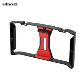 Ulanzi Handheld Smartphone Film Making Rig Handle Stabilizer Bracket Holder Cradle Phone Clip w/ Two Hot Shoe Mount for Apple iPhone 7/7s/6s/6 for Samsung Huawei Video Photo Studio