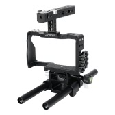 Andoer Professional Video Cage Rig Kit Film Making System w/ 15mm Rod for Sony A6000 A6300 A6500 ILDC Mirrorless Camera Camcorder