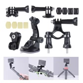 Universal Mount Base Accessories Holder Support w/ Suction Cup + Flat/Round Mount + Bicycle Mount for Sports Action Cam 360° VR Video Camera
