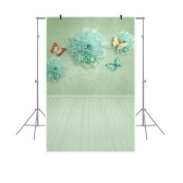 1.5 * 0.9m / 4.9 * 3.0ft Backdrop Photography Background Flower Butterfly Wood Floor Pattern for DSLR Camera Photo Studio Video