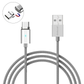 dodocool 3.9ft / 1.2m取り外し可能な磁気USB-C充電&同期ケーブル、LEDインジケータシルバー