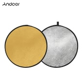 "Andoer 24"" 60cm Portable Collapsible Disc Light Reflector Photography Reflector Gold and Silver 2-in-1 for Portrait Photography Live Streaming"