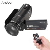 "Andoer HDV-V7 1080P Full HD Digital Video Camera Camcorder Max 24 Mega Pixels 16× Digital Zoom with 3.0"" Rotatable LCD Screen w/ 37mm 0.45× Wide Angle Lens"