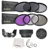 Andoer 72mm Lens Filter Kit UV+CPL+FLD+ND(ND2 ND4 ND8) with Carry Pouch / Lens Cap / Lens Cap Holder / Tulip & Rubber Lens Hoods / Cleaning Cloth