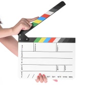 24 * 29.5cm Black & White Acrylic Dry Erase Clapboard Clap-stick Slate Clapper Board Slate for Film Movie Cut Action Scene Director