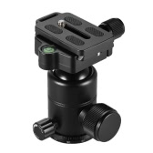 "Andoer AD-10 Aluminum Alloy Ball Head Camera Tripod Head with Quick Release Plate 1/4"" Screw 3/8"" Screw Hole Max. Load Capacity 3kg for Canon Nikon Sony Cameras"