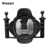 "Shoot 6"" Transparent Diving Underwater Camera Lens Dome Port Hook Cover w/ Handheld Stabilizer Grip Photography Fisheye Wide Angle Lens Shell for GoPro Hero4/3+/3"