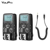 YouPro Pro-7 Wireless Shutter Timer Remote and Flash Trigger 2in1 with DC2 2.5mm PC Sync & Shutter Cable for Nikon D750 D7500 D7200 D7100 D7000 D610 D600 D5500 D5300 D5200 D5100 D3300 D3400 D3500 Camera