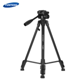 "YUNTENG VCT-390RM Portable Aluminum Alloy Video Tripod with Pan & Tilt Head 3-Section Adjustable Max. Working Height 142cm 1/4"" Screw Mount for Canon Nikon Sony Camera Camcorder DV for Smartphone Max. Load 3kg"