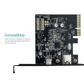 dodocool USB 3.1 Gen II (10 Gbps) Type-C and Type-A 2-Port PCI Express PCI-E Card for Desktop PC