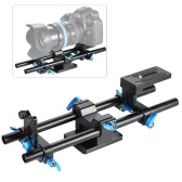 "15mm Rail Rod Support System DSLR Camera Track Baseplate with 1/4"" Screw Quick Release Plate"