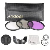 Andoer 67mm Filter Kit (UV+CPL+FLD) + Nylon Carry Pouch + Lens Cap + Lens Cap Holder + Lens Hood + Lens Cleaning Cloth